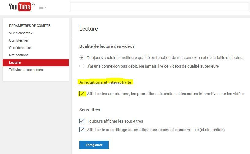 désactiver les annotations youtube