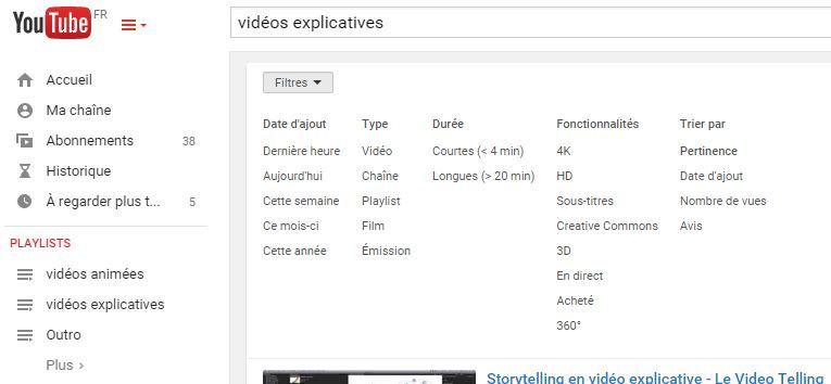 recherche et filtres youtube